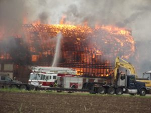 Fire fighters burn barn in live training event