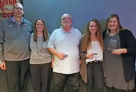 COURTESY PHOTO The Independent-Register From left, Jason Reisterer, Beth Reisterer, Dave Olsen, McKenna Bump, and Stephanie Pinnow were among nominees for awards from the Jaycees for their efforts throughout 2017 to help make Brodhead a better place to live, work and raise a family.