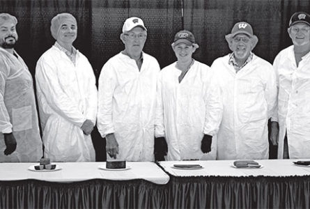 SUBMITTED PHOTO The Clinton Topper Meat product contest judges (from left): Mark Schafer (Richelieu Foods; Beaver Dam, Wis.); Adam Borger (Food Research Institute, University of Wisconsin; Madison, Wis.); Duane Bunting (Retired, Sentry Foods; Dousman, Wis.); Megan McGough (Kerry Ingredients; Beloit, Wis.); Tim Lorang (Tyson Prepared Foods; Jefferson, Wis.); and Terry Timm (Retired, University of Wisconsin-Madison; Appleton, Wis.).