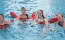 SUBMITTED PHOTO The Independent-Register Brodhead lifeguard class members, from left, Kathy Stilson, Braydon Sommerfeldt, Bailey Matthys and Mhariri Robertson pause recently in the pool from training now completed. Stacie Baldwin and Dave Gissing co-teach the class.