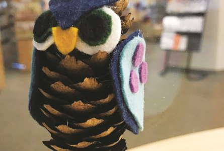 SUBMITTED PHOTO The Independent-Register Participants at family craft night on Oct. 4 at the Brod-head public library will make owls using pinecones and felt.