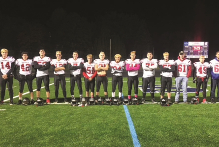 BECKY MALKOW PHOTO The Independent-Register The Cardinals seniors took the field for the final time on Friday at McFarland.  They are pictured here from left:  Dawson Van Wyhe (14), Husain Madgedy (42), Matt Mordhorst (53), Quinton Kammerer (12), Lucas Stephenson (7), Jacob Wilson (51), Seth Allen (21), Jeffery Williams (34), Jeremiah Darwin (24), Jacob Mahlkuch (75), Nick Noonan (53), Jon Elsner (61), Theo Policastro (49), and Austin Southall (66).