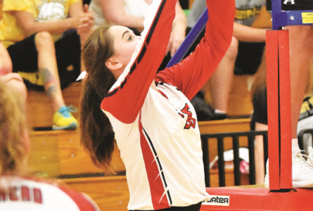 MANDY FIELDS PHOTO The Independent-Register Daisy Nelson puts the set up to the middle hitter.