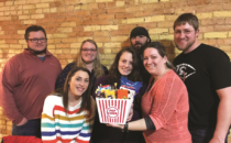 """First place team, """"We Thought This Was Speed Dating"""" left to right: Nicholas Krueger, Ashley Pluss, Emily Krueger, Ashley Bates, Andy Bates, Amber Rear, and Matthew Rear."""