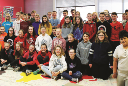 """While """"traveling"""" to Africa with Mrs. Tresemer in ge-ography, Brodhead seventh-grade students learned about a young girl named Beatrice from Uganda and gifted her with a goat from Heifer International."""