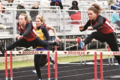 MANDY FIELDS Independent-Register  	Rhianna Teubert, left, and Alexis Oliver finish strong in the Brodhead Girls 100-meter hurdles, both qual-ifying for the finals in last week's invitational.