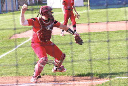 BECKY MALKOW PHOTO Independent Register Cardinals catcher Jake Miller throws down to second.