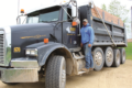 TONY ENDS PHOTO Independent Register Bill Day and his wife Heather have launched a new business - Days Trucking - serving the Brodhead and state-line area, delivering crushed rock and forming gravel driveways.