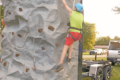 Tristan Mau try to get to the top of the rock wall.