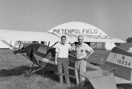 COURTESY PHOTO Independent Register Aircraft donated Mr. Baglien is shown here with the donated plane's designer Bernard Pietenpol who is considered the grandfather of the homebuilt aircraft movement.