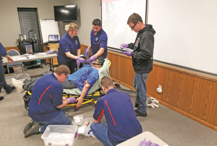 COURTESY PHOTO Independent Register Brodhead EMS Brodhead Area EMS Crew care for a simulated ro-botic patient in respiratory distress during training with Mercyhealth.