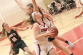 BECKY MALKOW PHOTO Independent Register Lady Cards v, Richland Center Kiarra Moe weaves her way through the Richland Center press to get to the hoop.