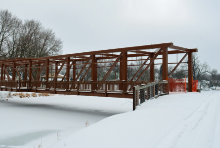 MARY HOOKHAM The Independent-Register 	The Pearl Island bridge was finished in 2019 but still awaits a roof to make it a covered bridge. Recently, a clerical error was discovered with the Pearl Island account, so funding for the roof remains unclear.
