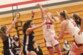 BECKY MALKOW PHOTO The Independent-Register The Lady Cardinals' Kiarra Moe drills a three-pointer during the Feb. 6 home game against Evansville.