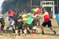 BECKY MALKOW PHOTO The Independent-Register The offensive and defensive linemen work on blocking during a recent practice of the Brodhead-Juda football team. The alternate spring season kicks off Friday, March 19, for the Cardinals.