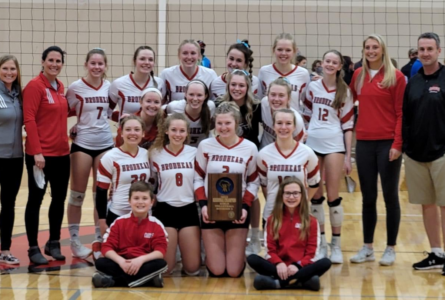 PHOTO SUBMITTED The Independent-Register The Brodhead volleyball team celebrates its regional win April 10 against Parkview. The girls were to face Columbus in the sectional semi-final on April 13, which is after the Independent-Register's press time.
